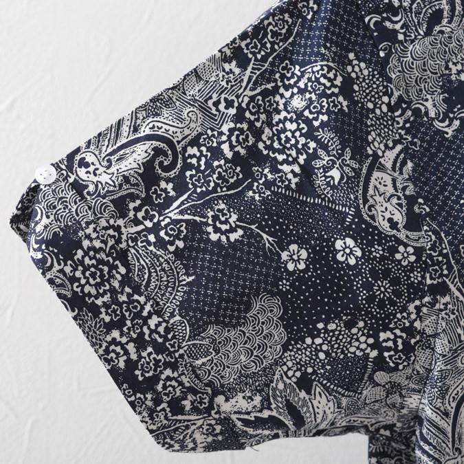 RELCO メンズ 半袖シャツ 花柄シャツ レルコ レトロ ネイビー モッズファッション