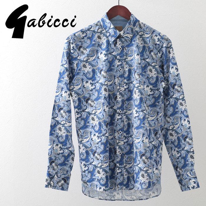 Gabicci メンズ 長袖シャツ フローラル ガビッチ コロン レトロ 花柄シャツ モッズファッション