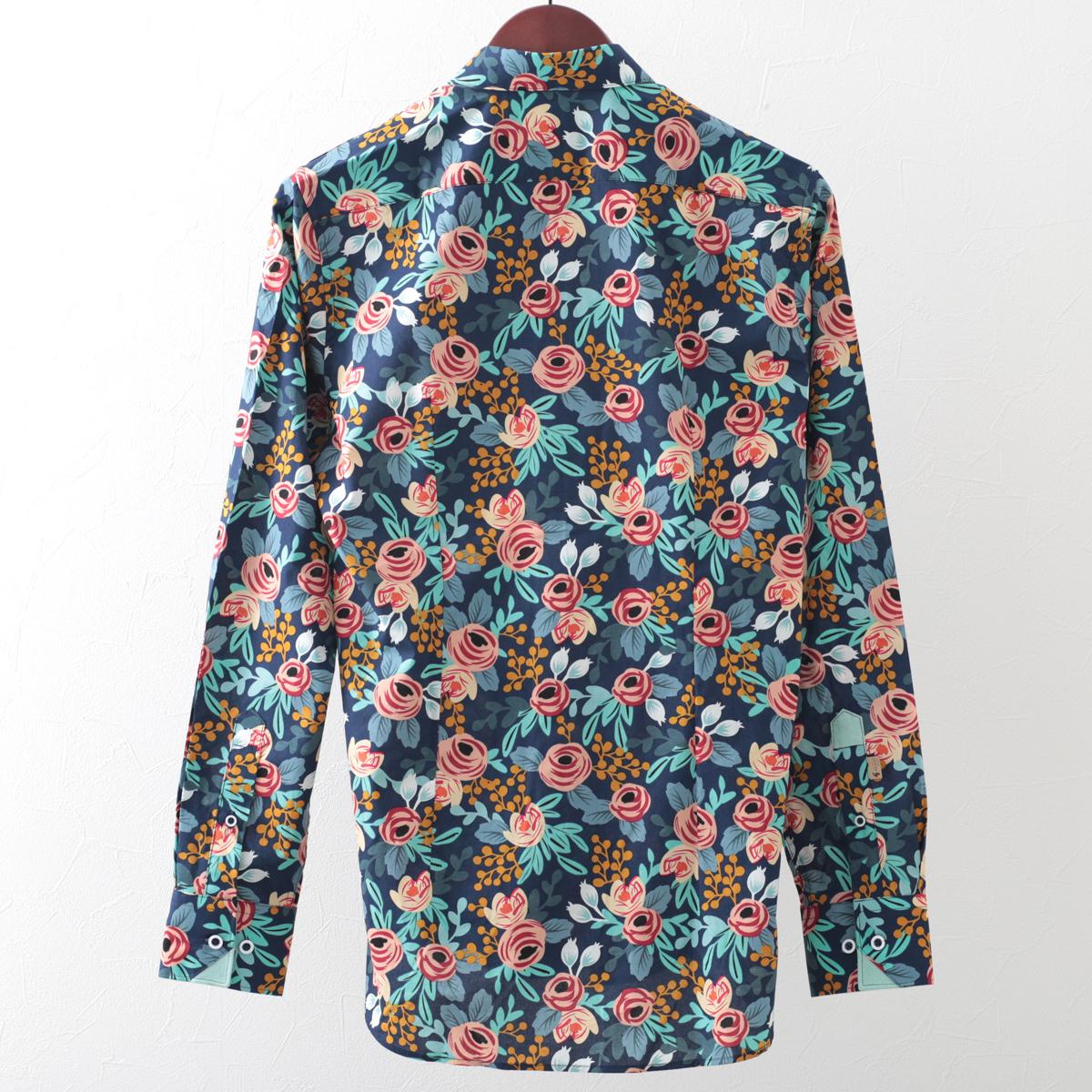 Gabicci メンズ 長袖シャツ フローラル ガビッチ ネイビー レトロ 花柄シャツ モッズファッション