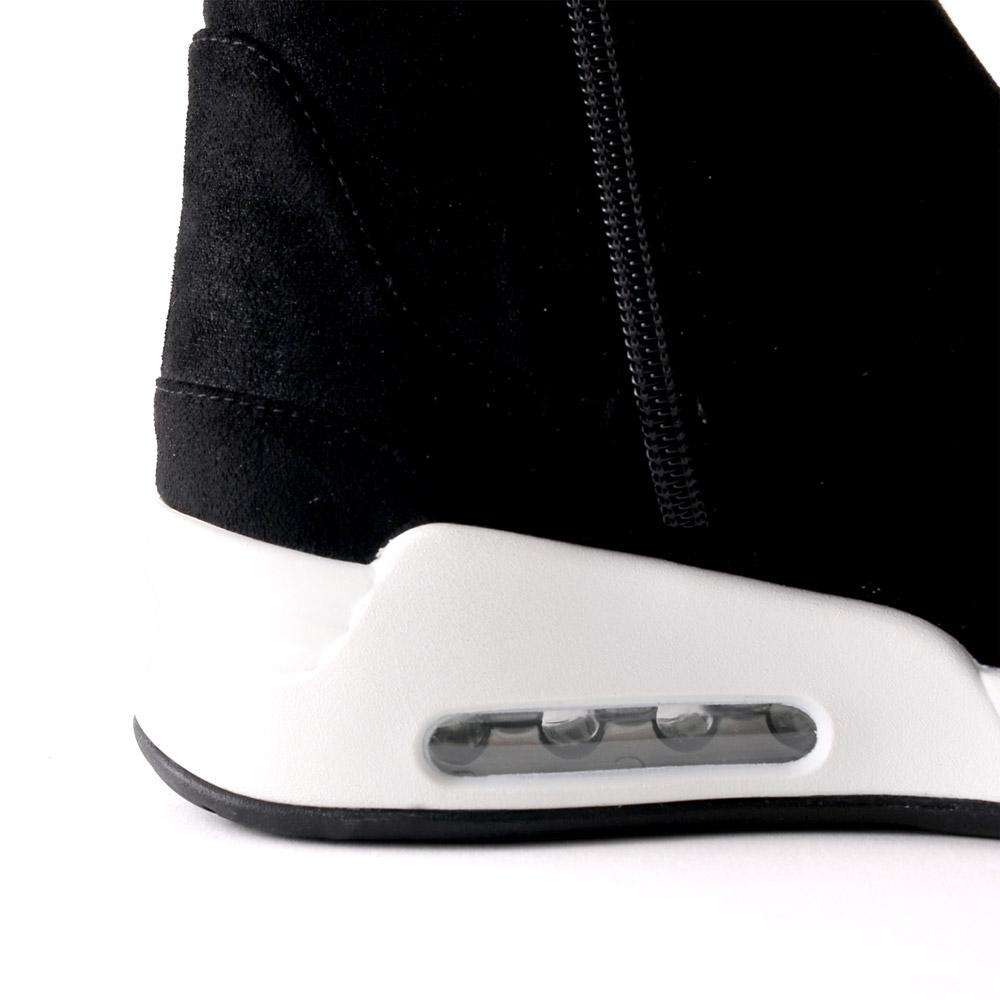 <420019-2021>coca / コカ BMZ高機能インソール付き ラメ&ストレッチ 厚底ソール ハイカット スニーカー ブーツ ブラック