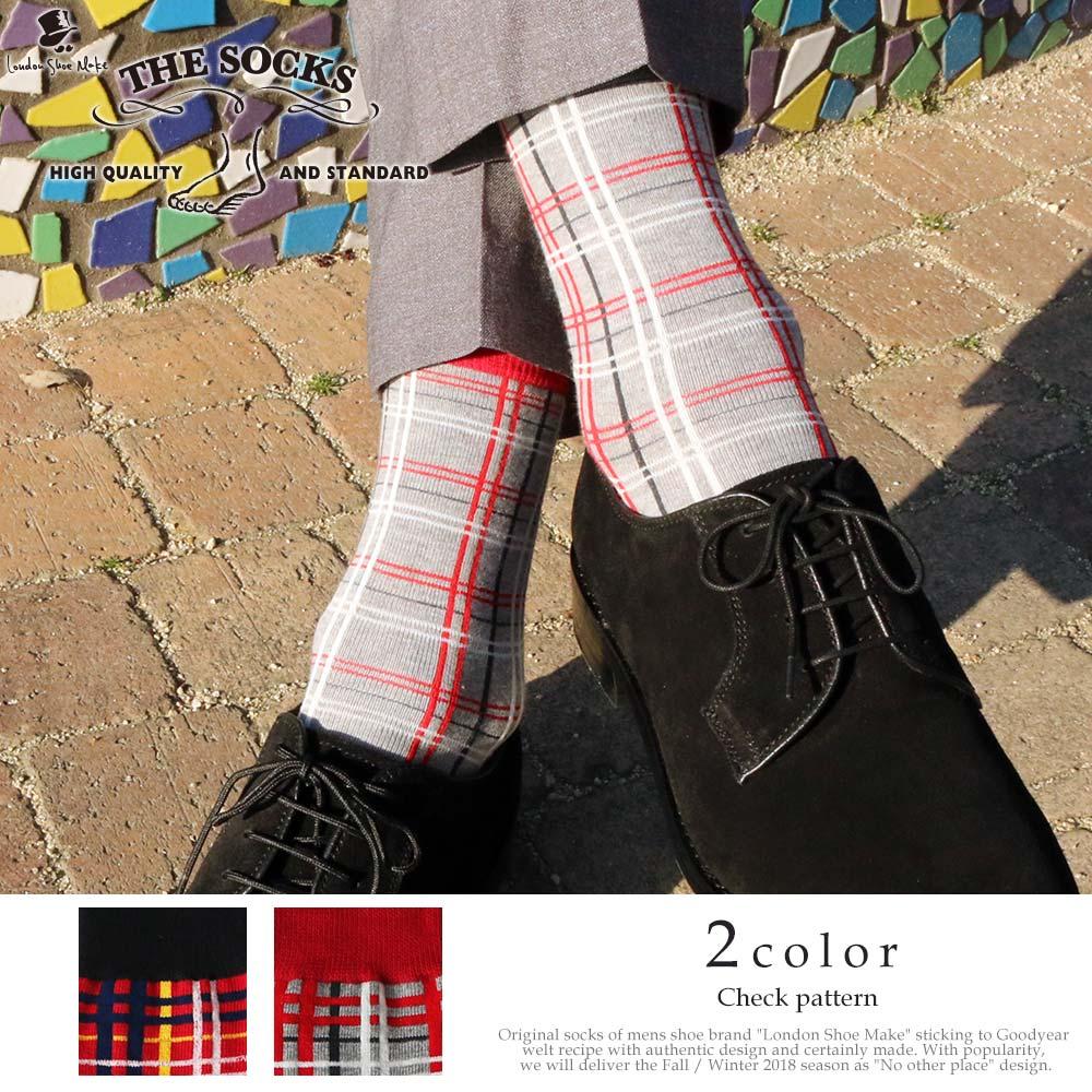 London Shoe Make THE SOCKS| No,418901 チェック柄/ check 日本製 メンズソックス グレー 【返品・交換不可】