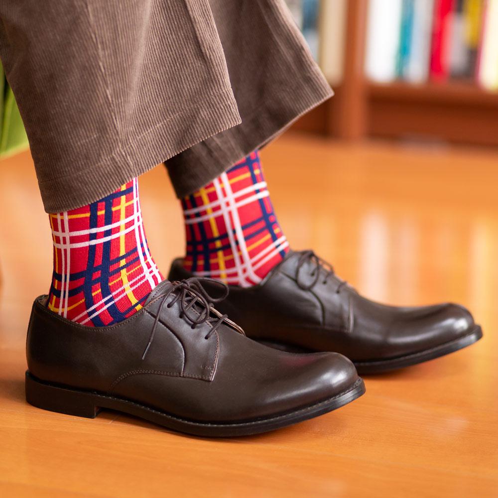 London Shoe Make THE SOCKS| No,418901 チェック柄/ check 日本製 メンズソックス レッド 【返品・交換不可】