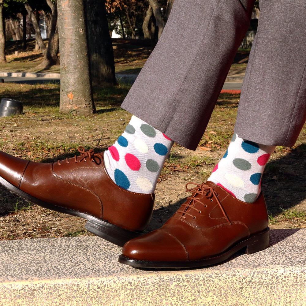London Shoe Make THE SOCKS  No,418902 ドット柄/ dot 日本製 メンズソックス ライトブルー 【返品・交換不可】