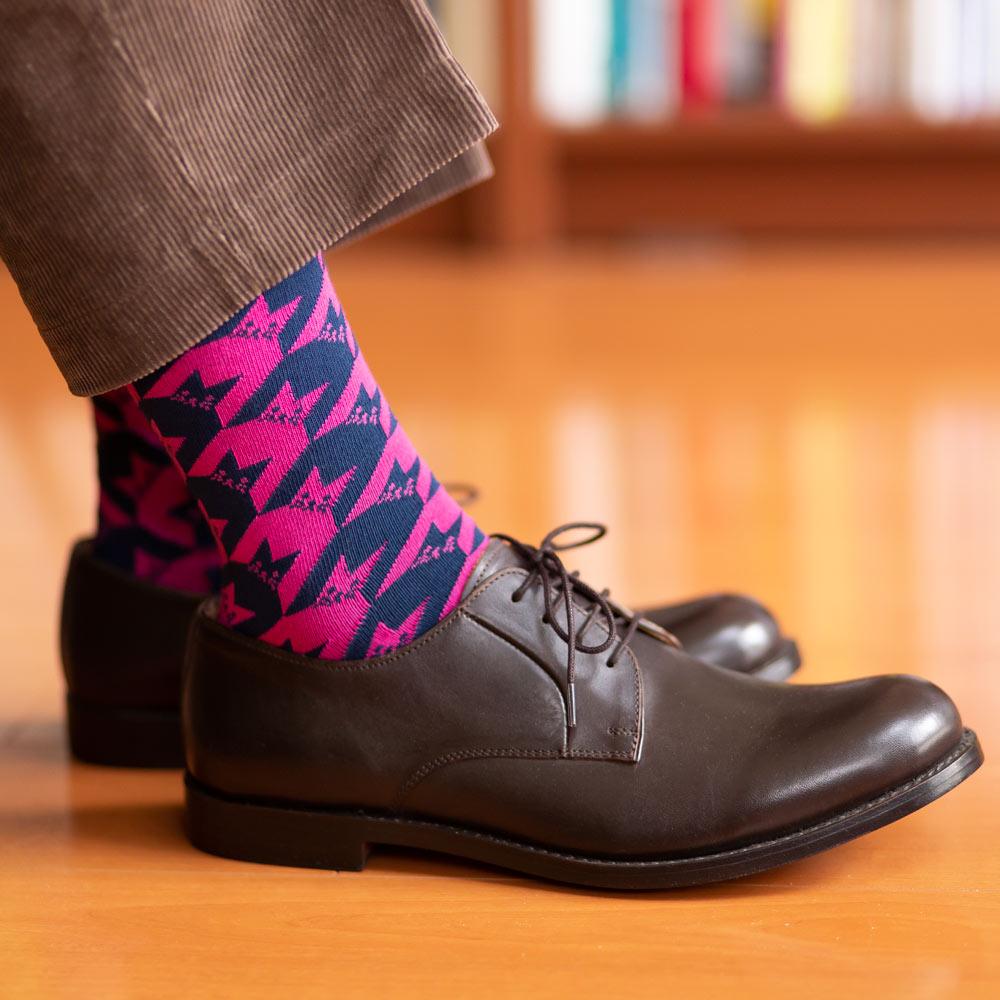 London Shoe Make THE SOCKS| No,418903 千鳥格子柄/ Houndstooth 猫 日本製 メンズソックス ネイビー 【返品・交換不可】
