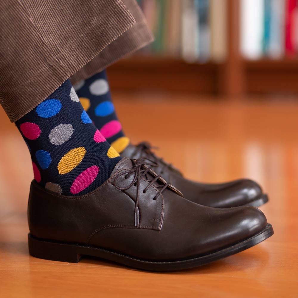 London Shoe Make THE SOCKS| No,418902 ドット柄/ dot 日本製 メンズソックス ネイビー 【返品・交換不可】