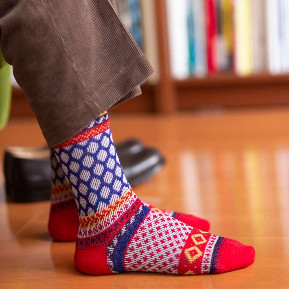 London Shoe Make THE SOCKS| No,418904 フェアアイル柄/ Fair Isle 日本製 メンズソックス レッド 【返品・交換不可】