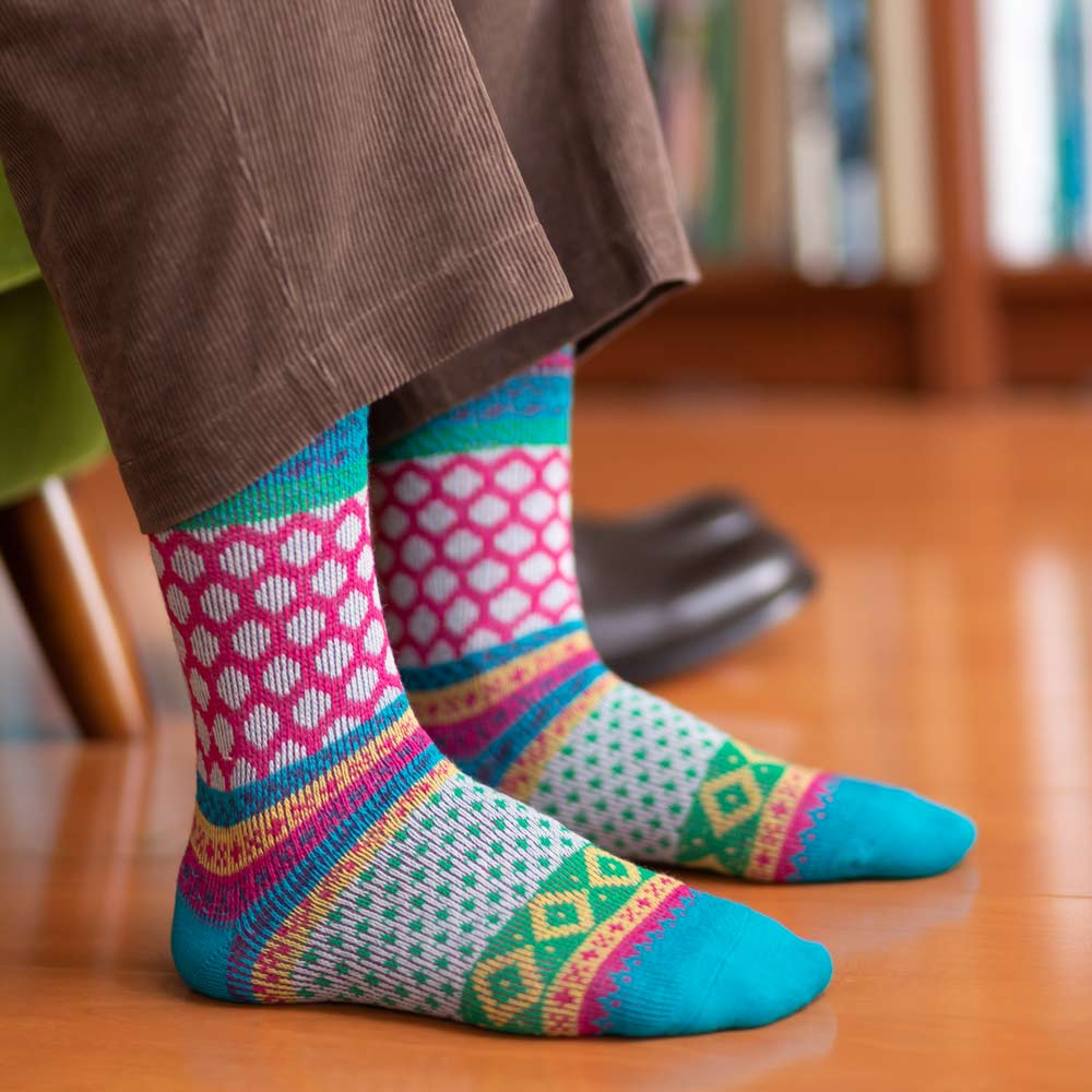 London Shoe Make THE SOCKS| No,418904 フェアアイル柄/ Fair Isle 日本製 メンズソックス ブルー 【返品・交換不可】