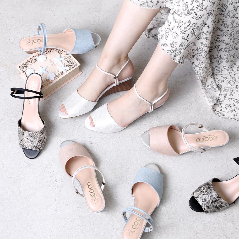 <121007-2111>coca / コカ 2WAY ダブルストラップ 4.5cm ウェッジソール ミュールサンダル ブルー