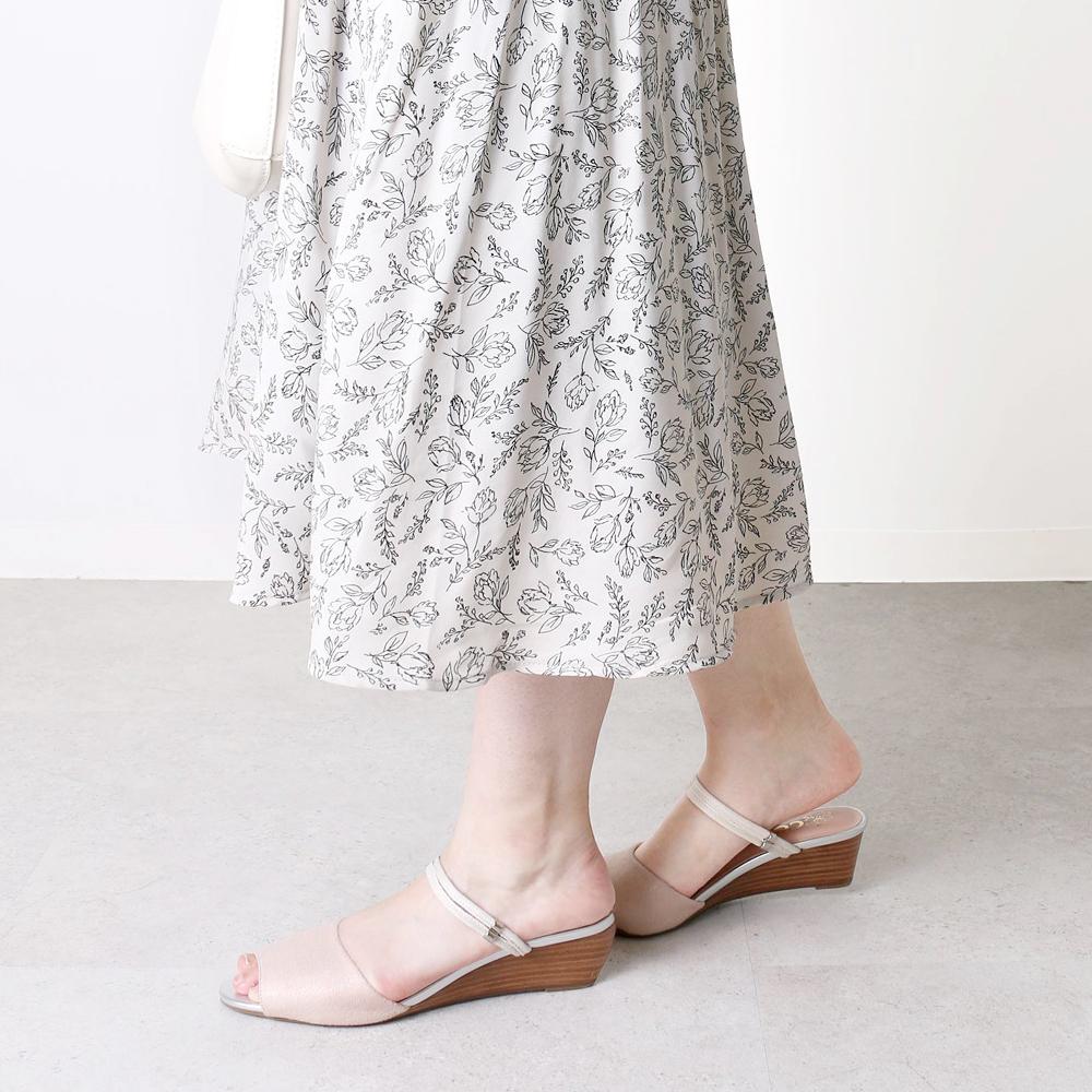 <121007-2111>coca / コカ 2WAY ダブルストラップ 4.5cm ウェッジソール ミュールサンダル ベージュ