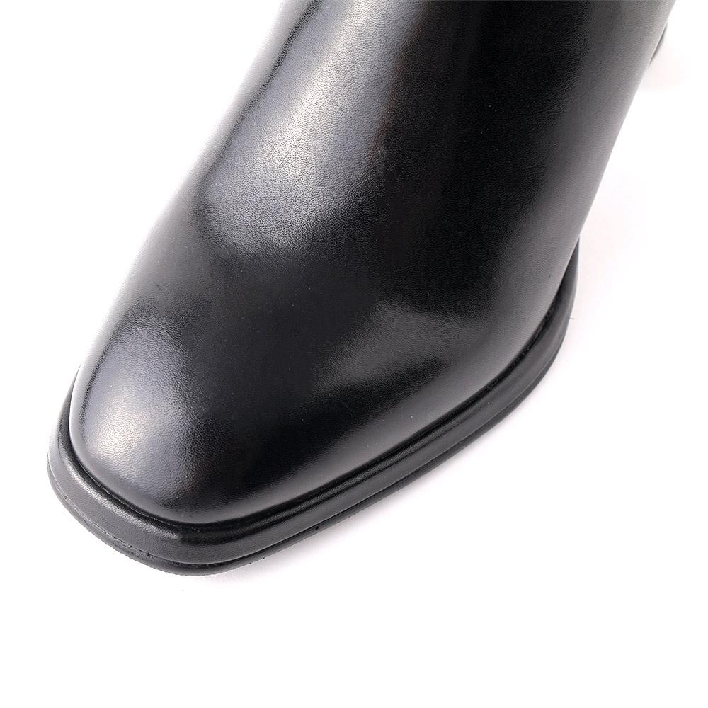 <421013-2121> coca / コカ 本革 7.5cm ヒール スクエアトゥ サイドゴアブーツ ブラック