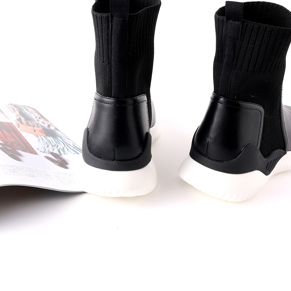 <420708-2021> coca porta / コカポルタ ハイカット リブ ニット 厚底 スニーカー ブーツ ブラック