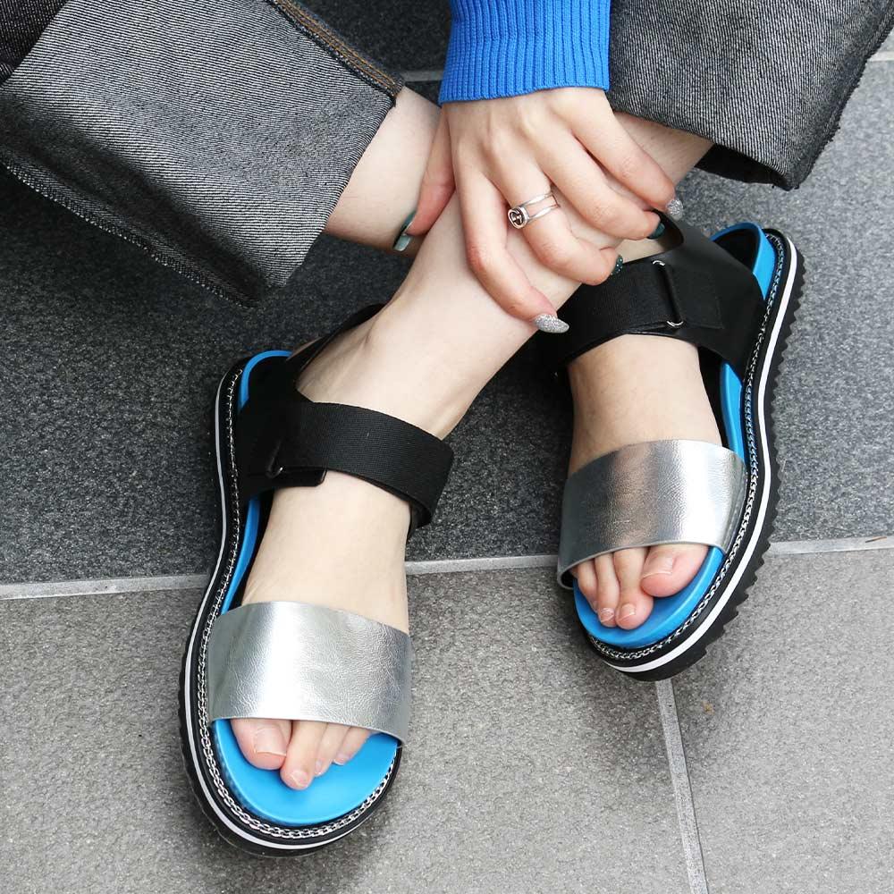<121013-2111>coca / コカ メタリック ダブルベルト 厚底 スポーツサンダル ブルー