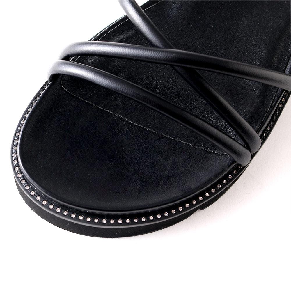 <121015-2111>coca / コカ ストリング ボリューム 厚底 スポーツサンダル ブラック