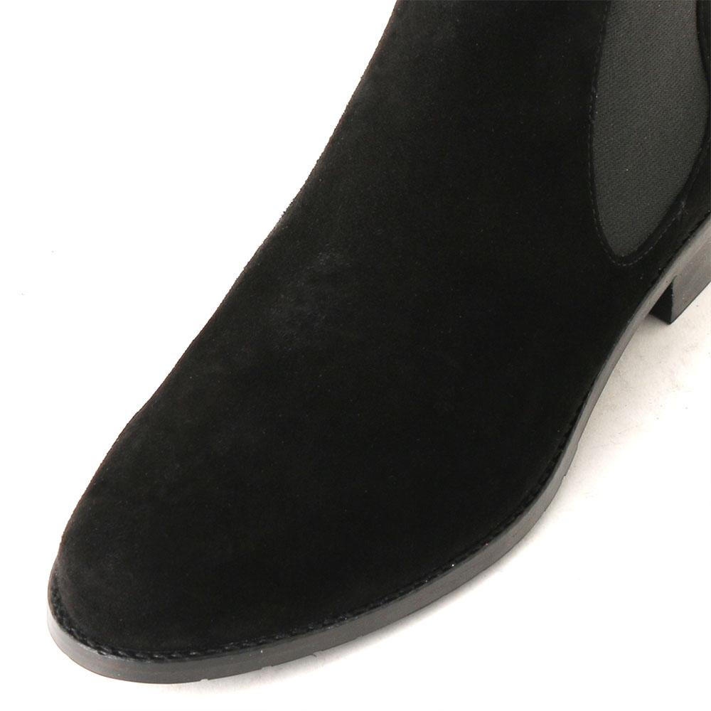 <419010-1921> coca / コカ サイドゴア 2.5cmヒール ショートブーツ/ブラックキッド スエード 革