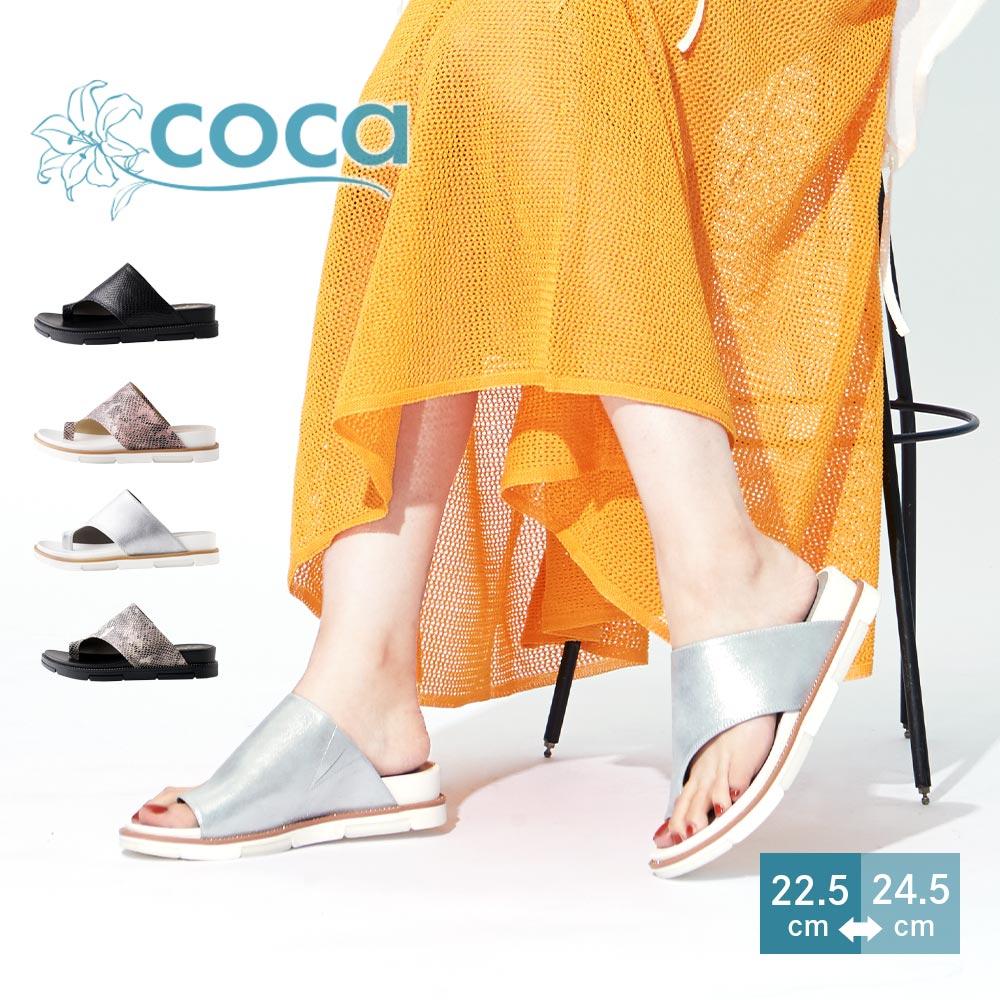 <121017-2111>coca / コカ アシンメトリー シンプル 快適 フィット ラインストーン トングサンダルブラックコンビ