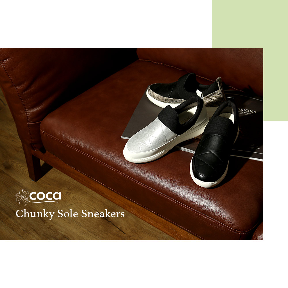 <120028-2011> coca / コカ ふわっと軽い ボンディング 厚底ソール  軽量スニーカー シルバー