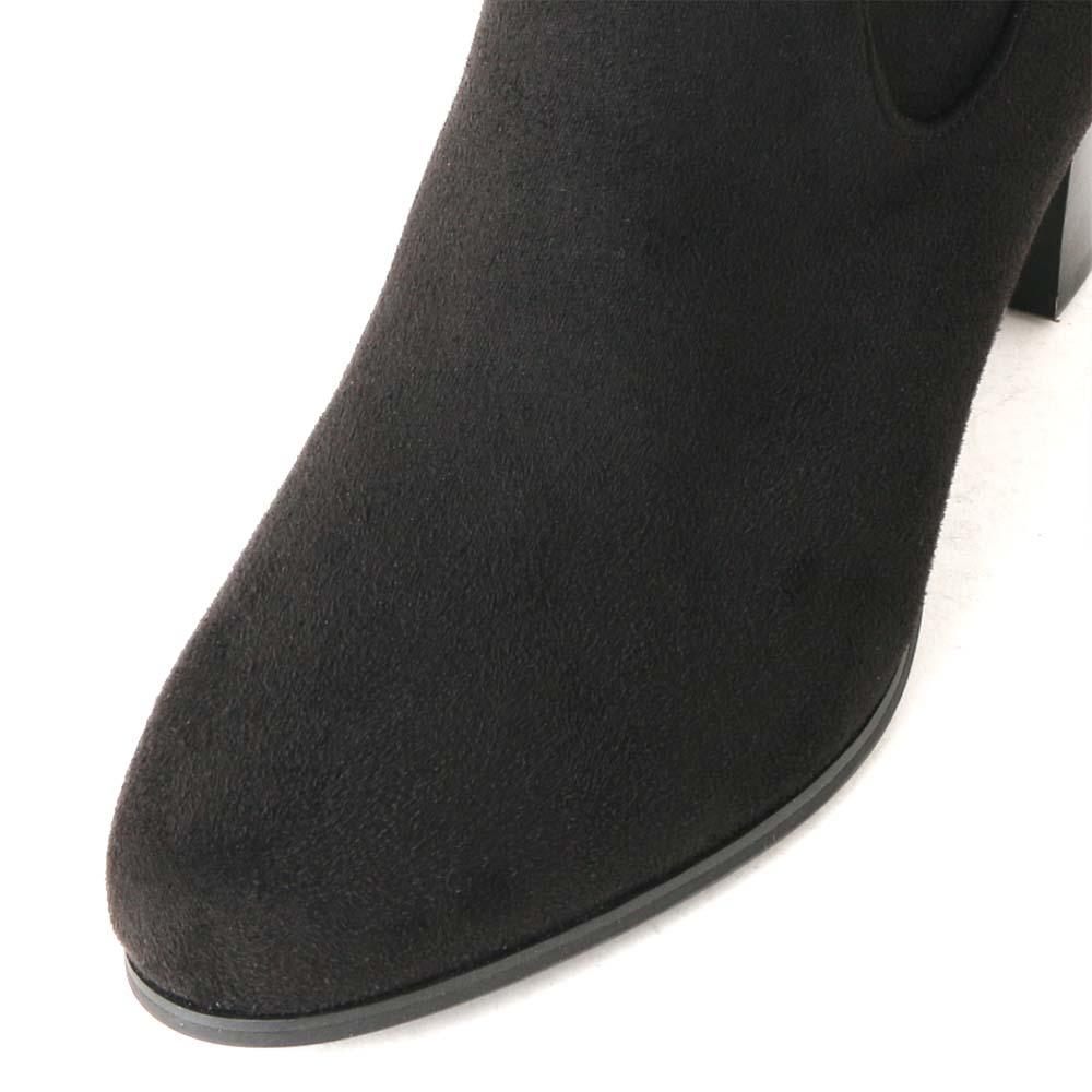 【42%OFF】<419014-1921> coca / コカ マイクロフリース ストレッチ 5cmヒール ショートブーツ/ブラック スエード調