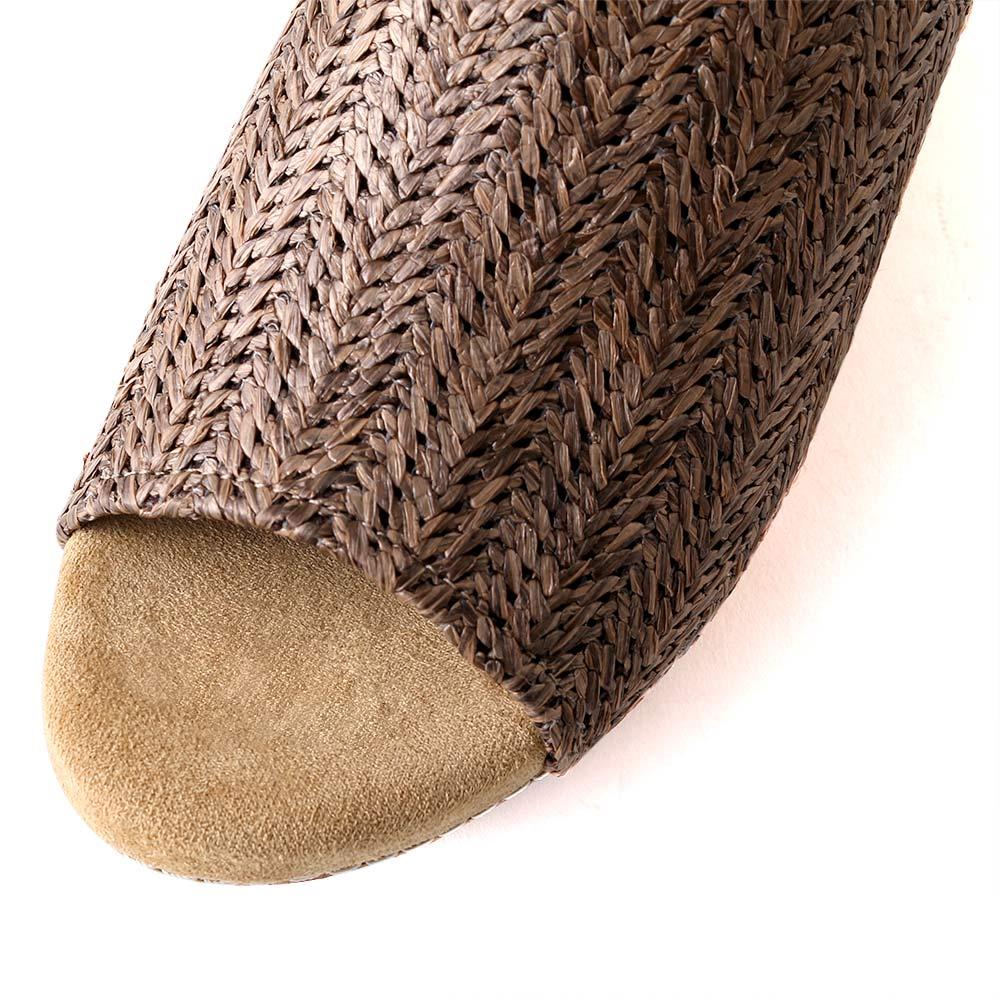 <121024-2111>coca / コカ ラフィア風 涼しげ 8cm 美脚 ウェッジソール 編みミュール ブラウン