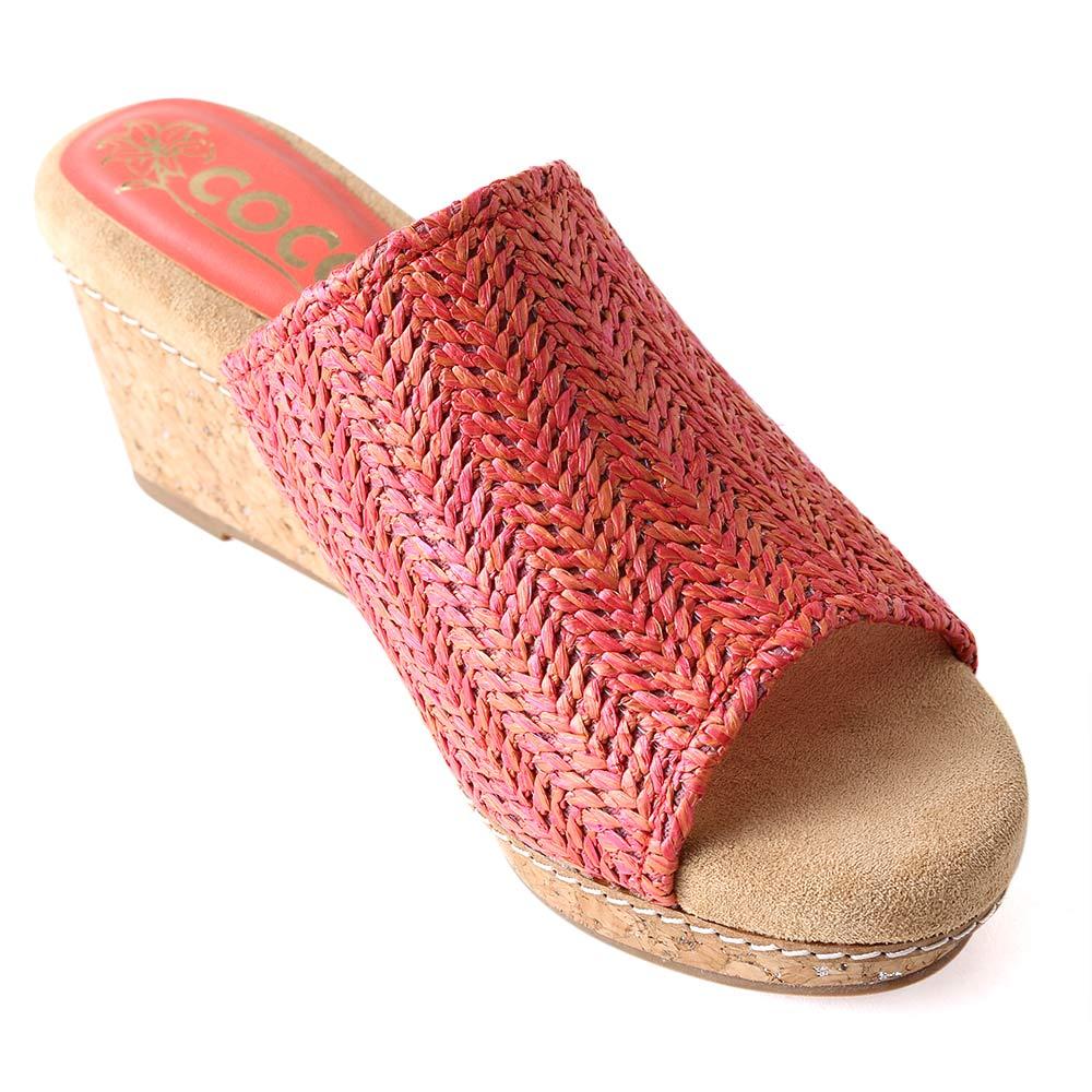 <121024-2111>coca / コカ ラフィア風 涼しげ 8cm 美脚 ウェッジソール 編みミュール レッド