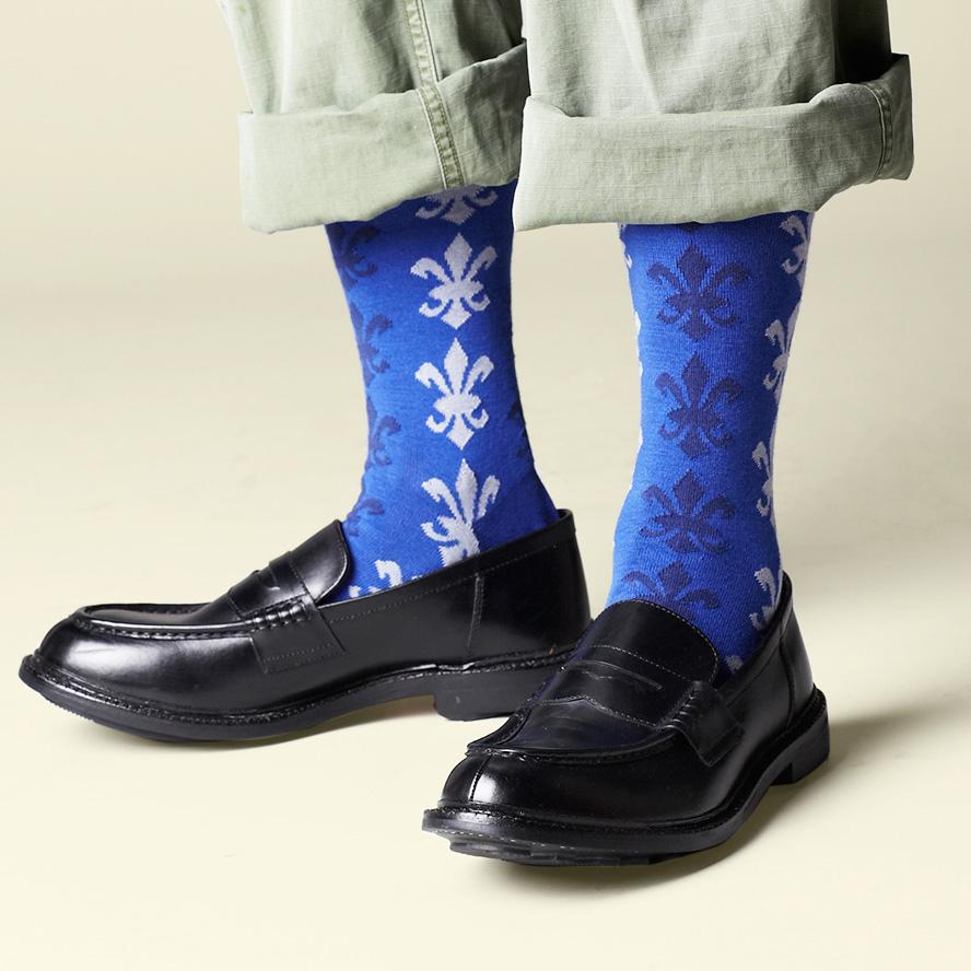 【プレゼントに♪】London Shoe Make THE SOCKS| No,417902 騎士団/knights 日本製 メンズソックス・ブルー