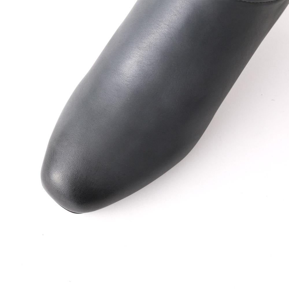 <420007-2021>coca / コカ 6cmヒール サイドゴア ソフトスクエアトゥ ショートブーツ グレー