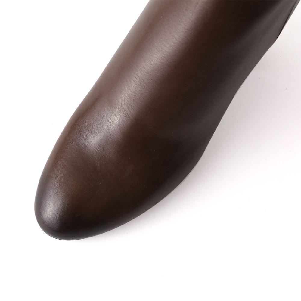 <420009-2021>coca / コカ 6.5cm チャンキーヒール 本革 ショートブーツ ダークブラウン