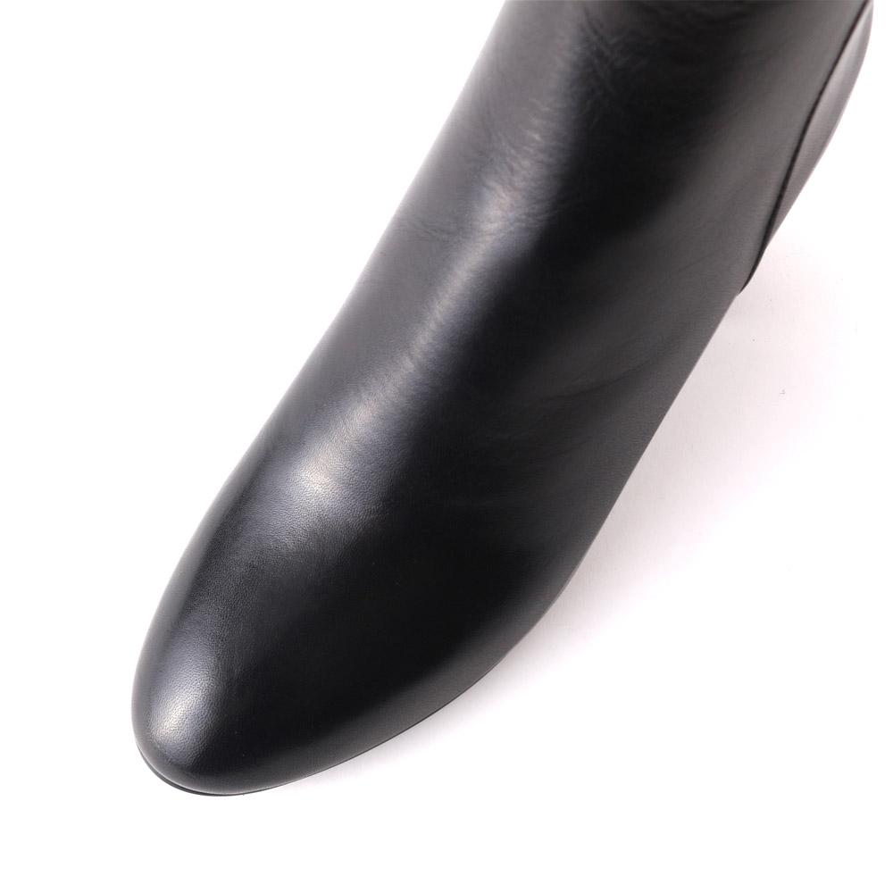 <420009-2021>coca / コカ 6.5cm チャンキーヒール 本革 ショートブーツ ブラック