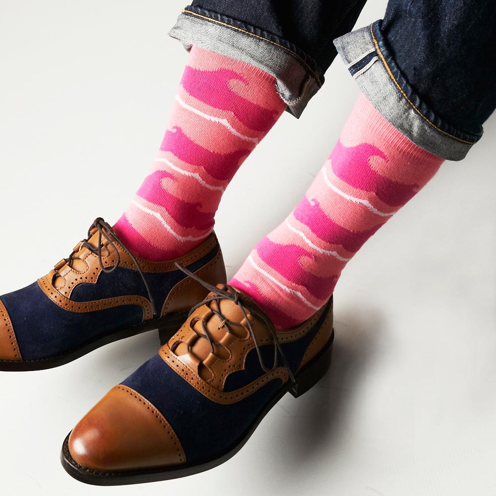 【30%OFF】London Shoe Make THE SOCKS| No,118904 船乗り/ Sailor 日本製 メンズソックス・ピンク 【返品・交換不可】