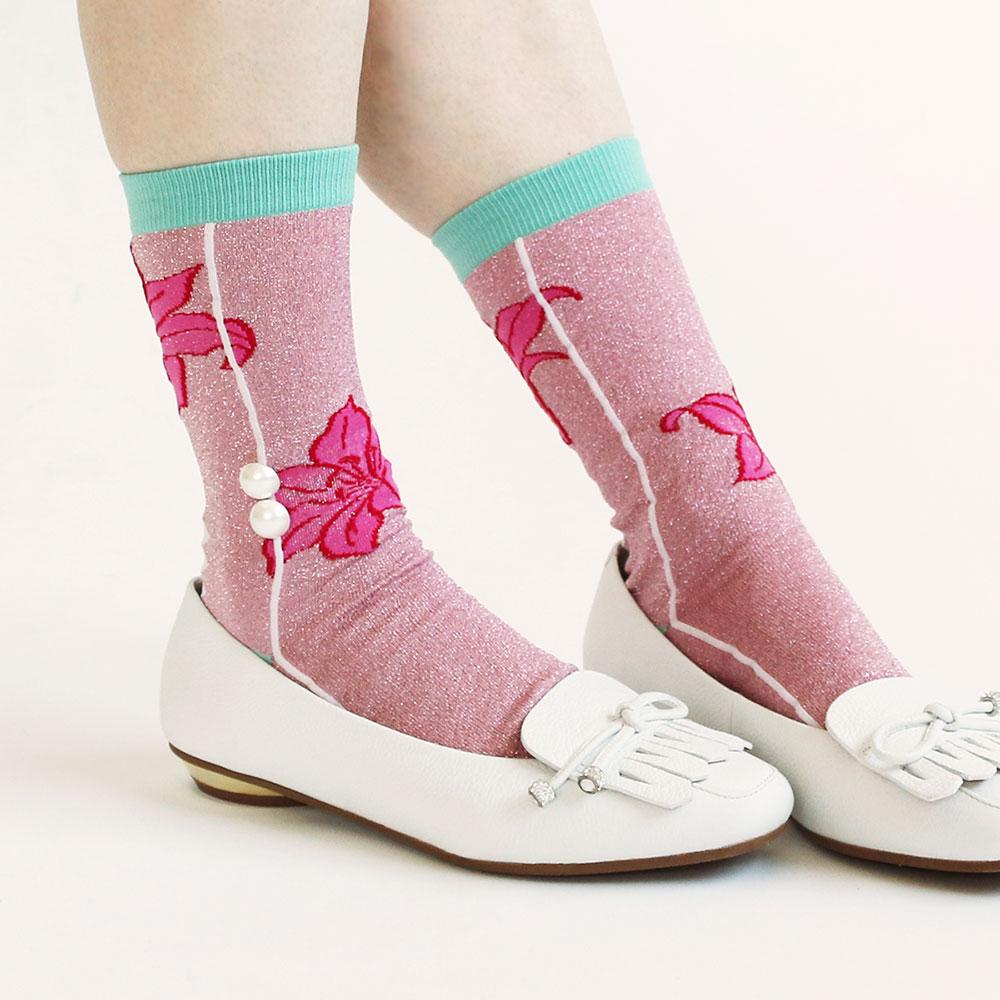 <118952> 日本製ソックス カサブランカ/花柄 ラメ パール ソックス 23〜25cm ピンク【返品・交換不可】