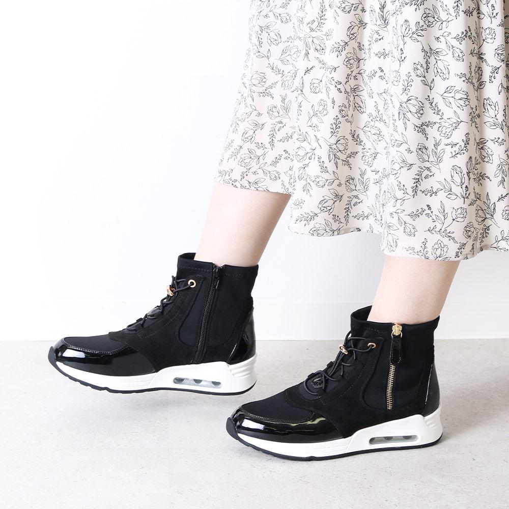 <121038-2111> coca / コカ BMZ高機能インソール付き サイドジッパー ストレッチ ハイカット スニーカータイプ ブーツ ブラック