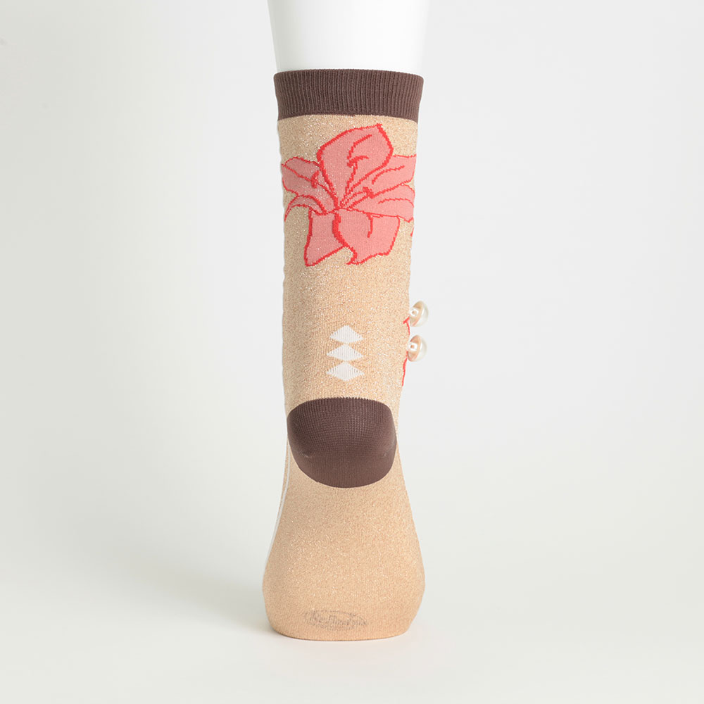 <118952> 日本製ソックス カサブランカ/花柄 ラメ パール ソックス 23〜25cm ブラウン【返品・交換不可】