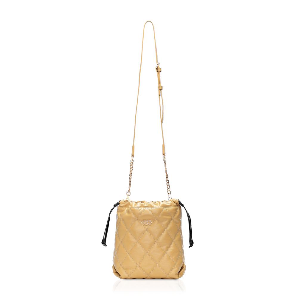 COCOCELUX GOLD ダイヤモンドレザー 巾着チェーンショルダー 2WAYバッグ