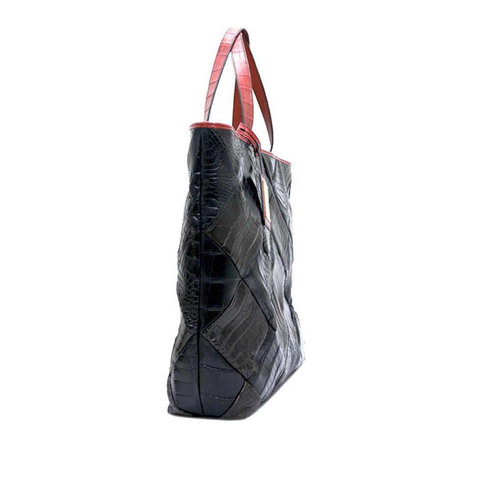 COCOCELUX GOLD マットクロコダイル ダイヤモンドシェイプ リバーシブルトートバッグ