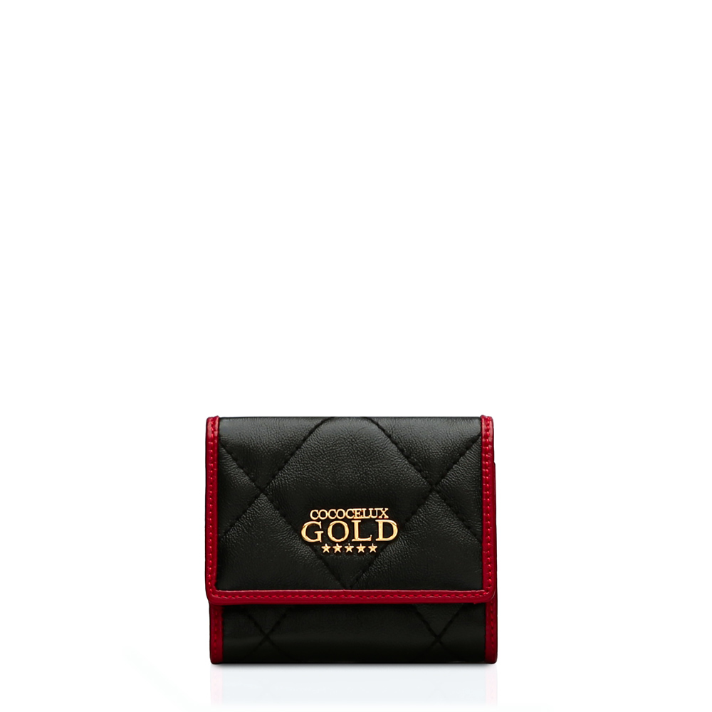 COCOCELUX GOLD ダイヤモンドレザー 3つ折りミニウォレット