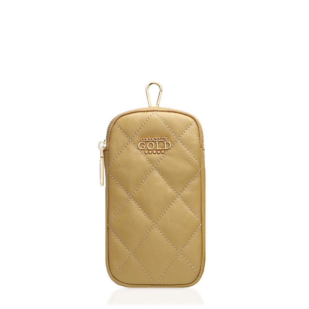 COCOCELUX GOLD ダイヤモンドレザー スマホポーチ&チャーム
