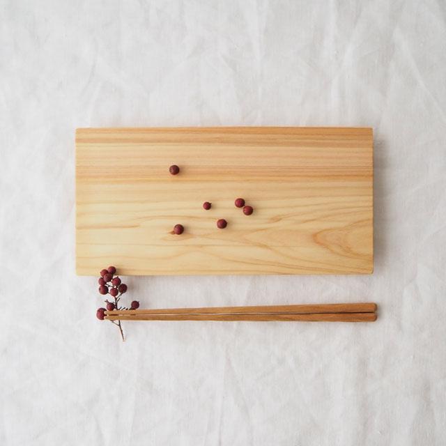 糸島桧の板皿と削り箸のセット