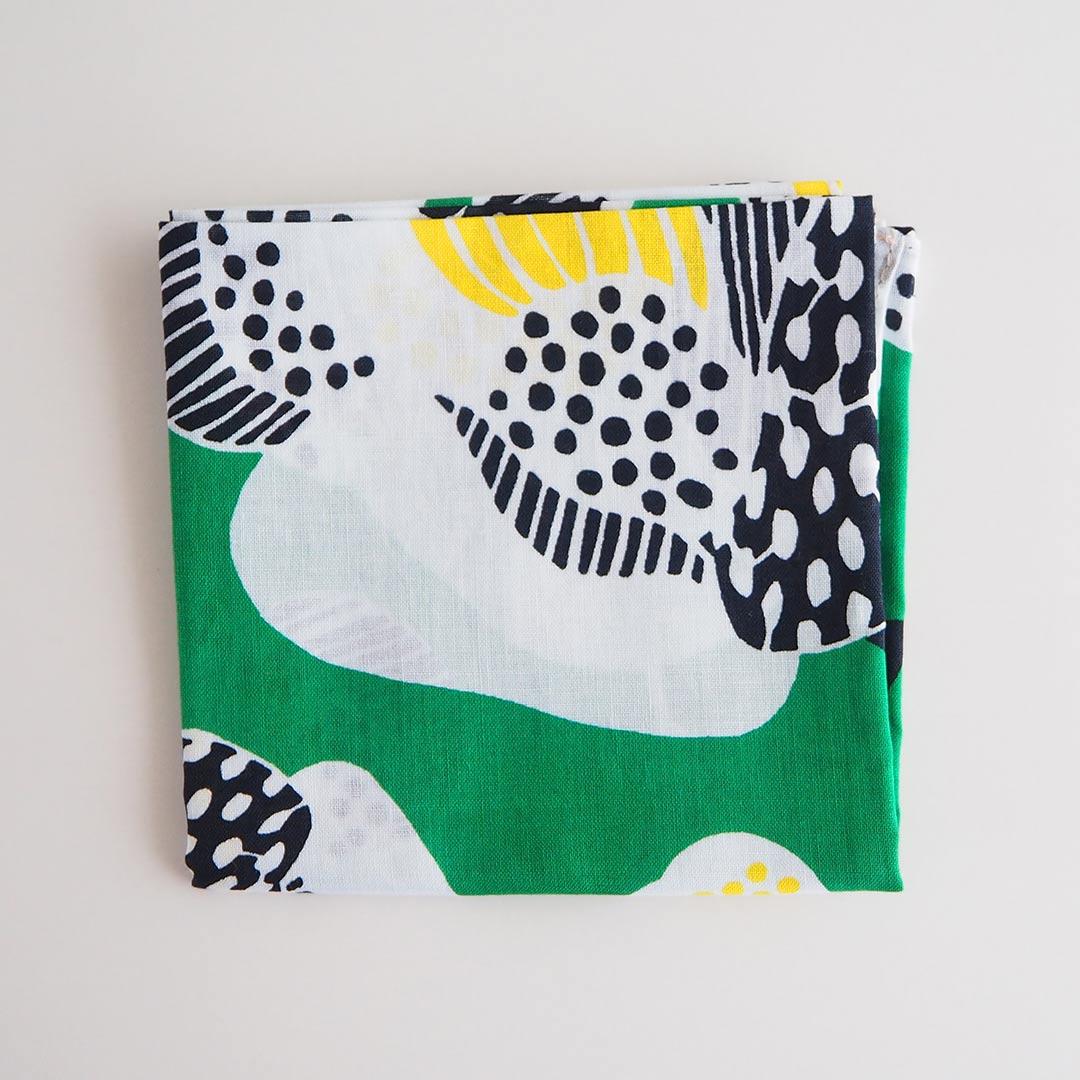 ハンカチ/椿/緑