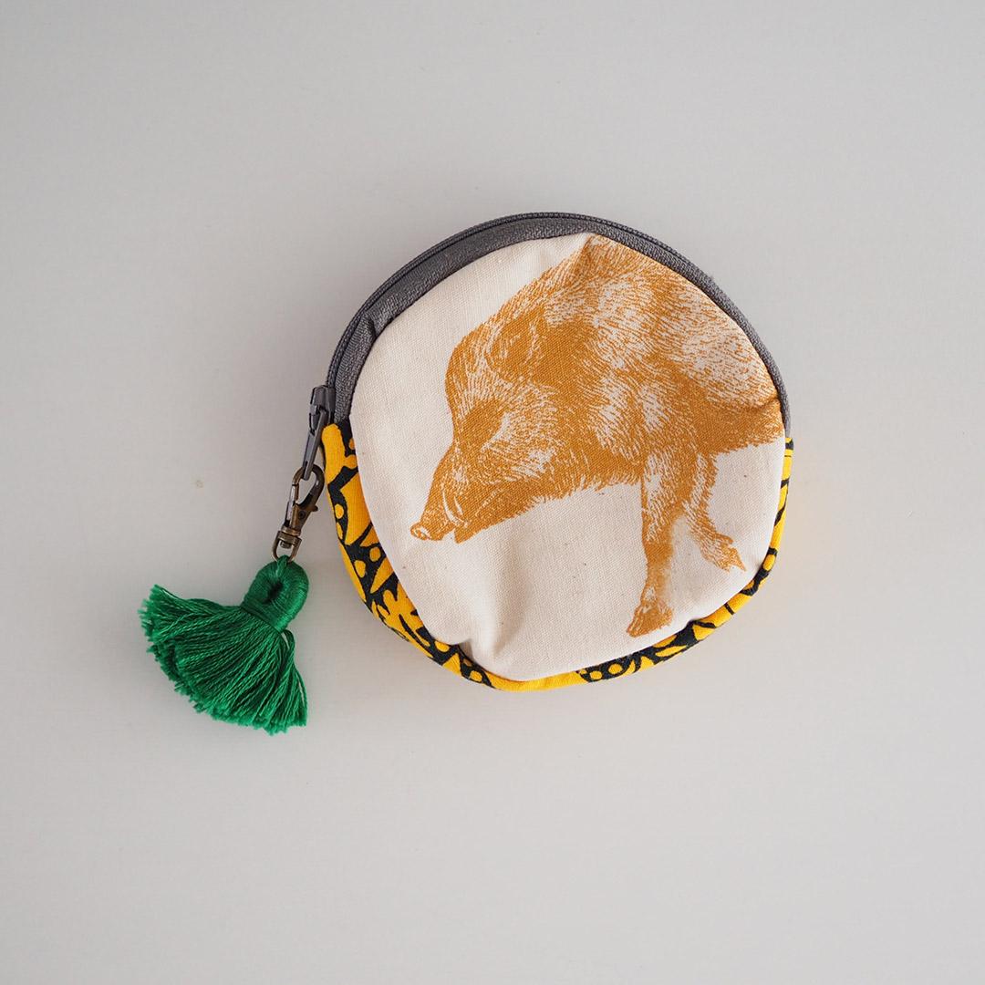 イノシシ革のポーチ/丸/緑【在庫限り】