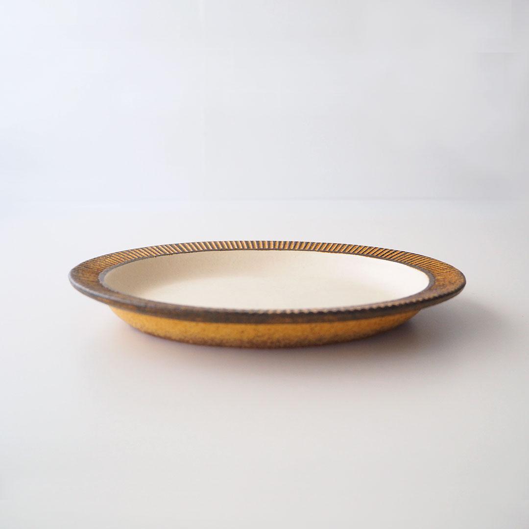 鉄彩/リム楕円皿/20cm