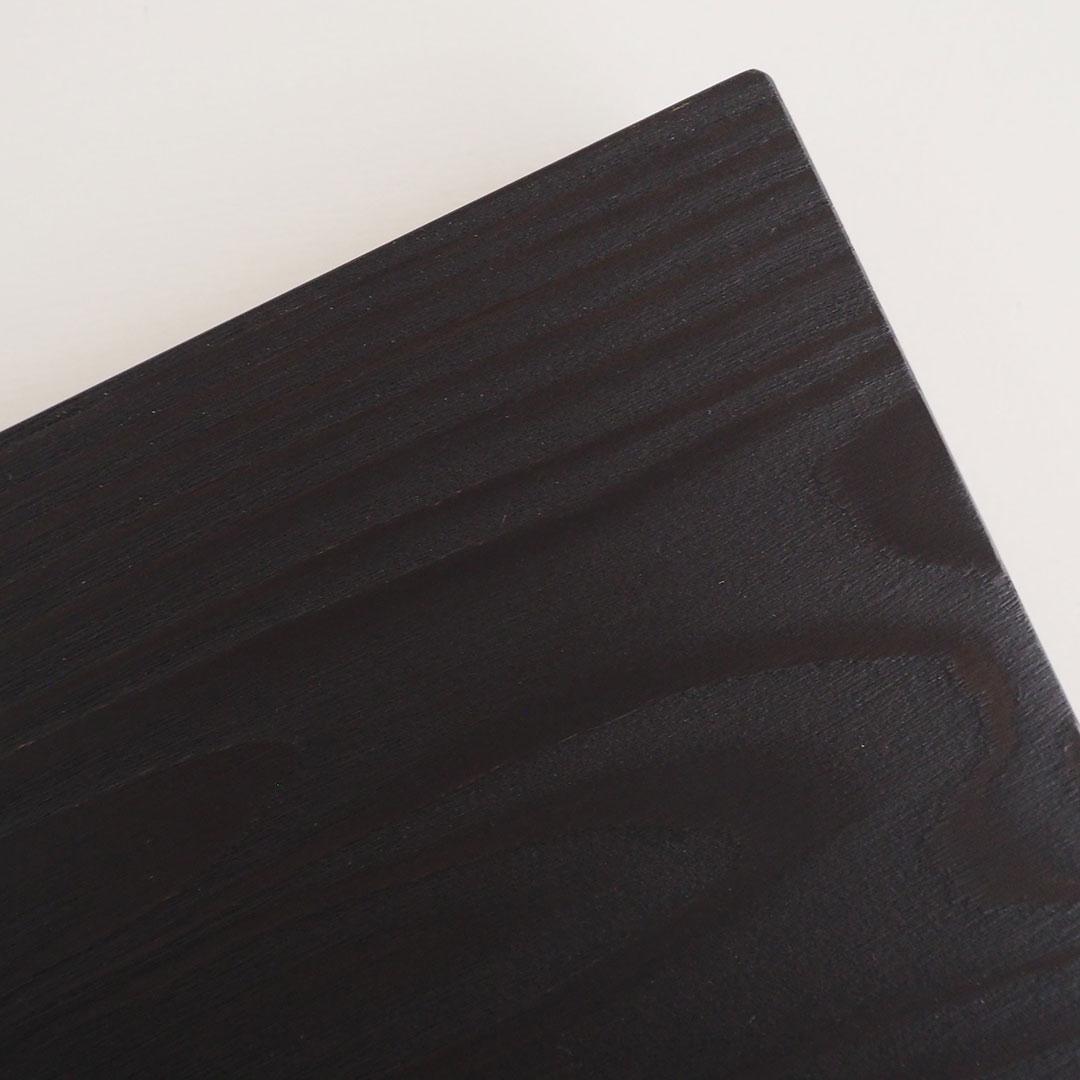 木の角皿(浮造り)/糸島杉/墨黒
