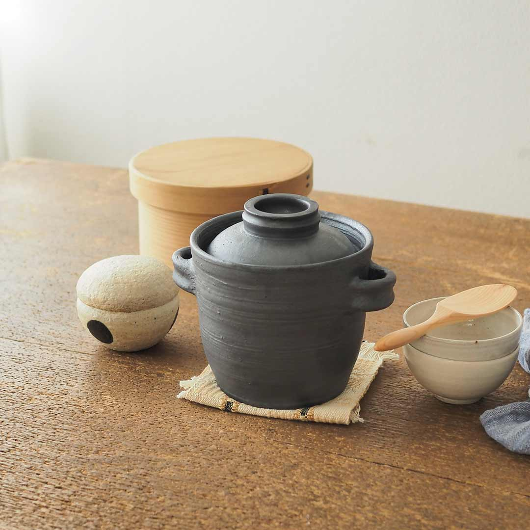 耐熱土鍋ご飯焚き2合/黒