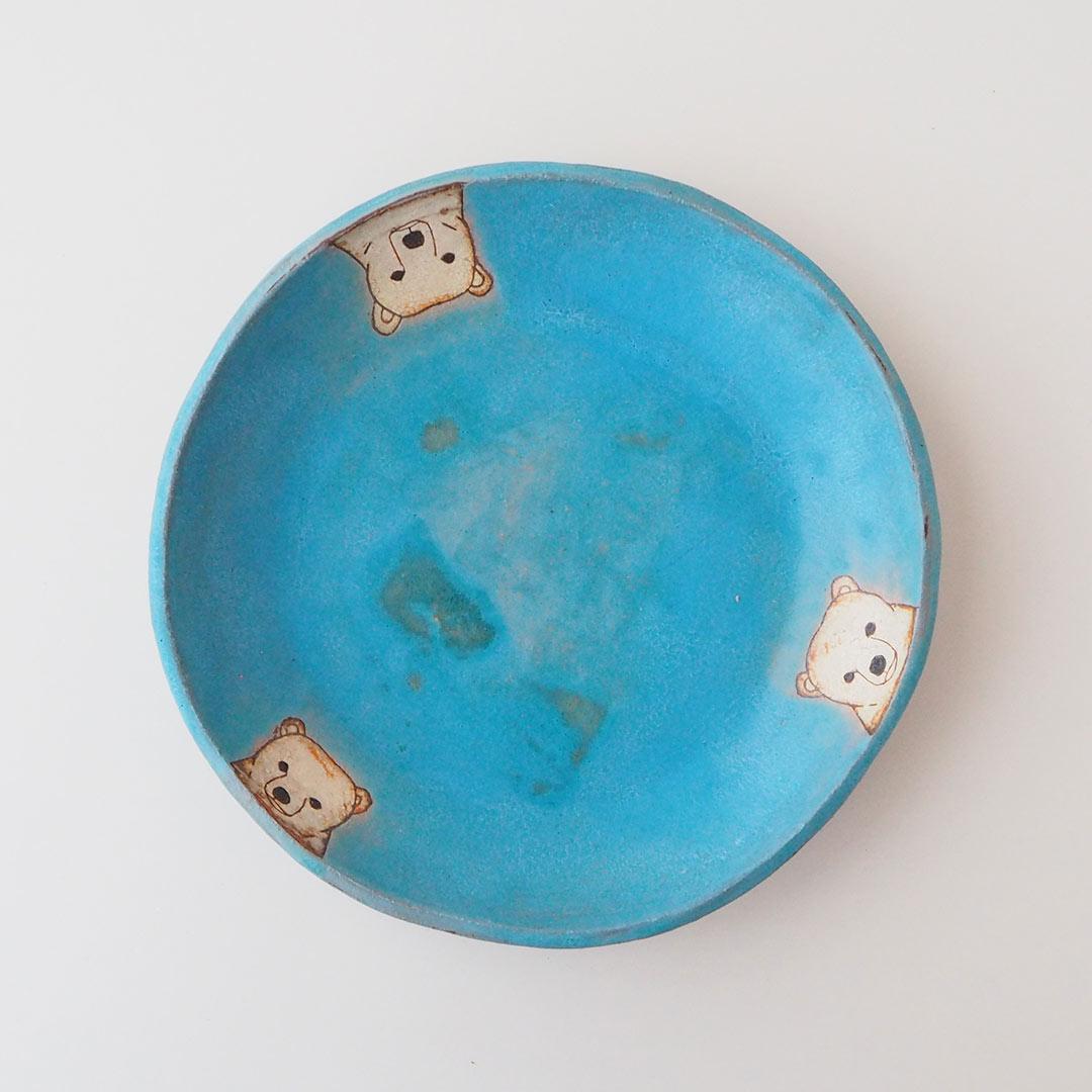 しろくまの丸皿/21.5cm