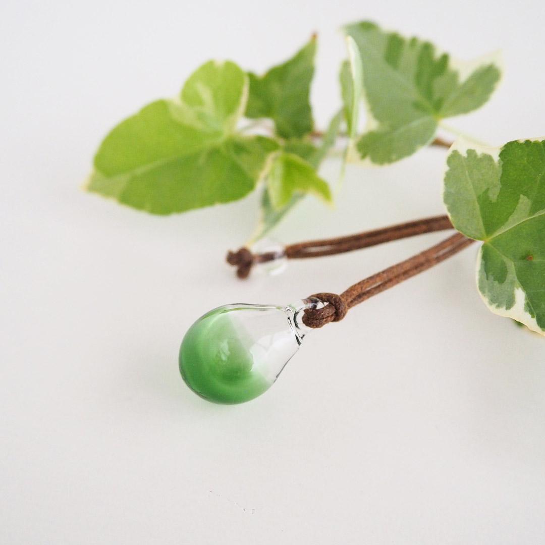 アロマペンダント ガラス/ロウ引き紐/緑/スポイド付き