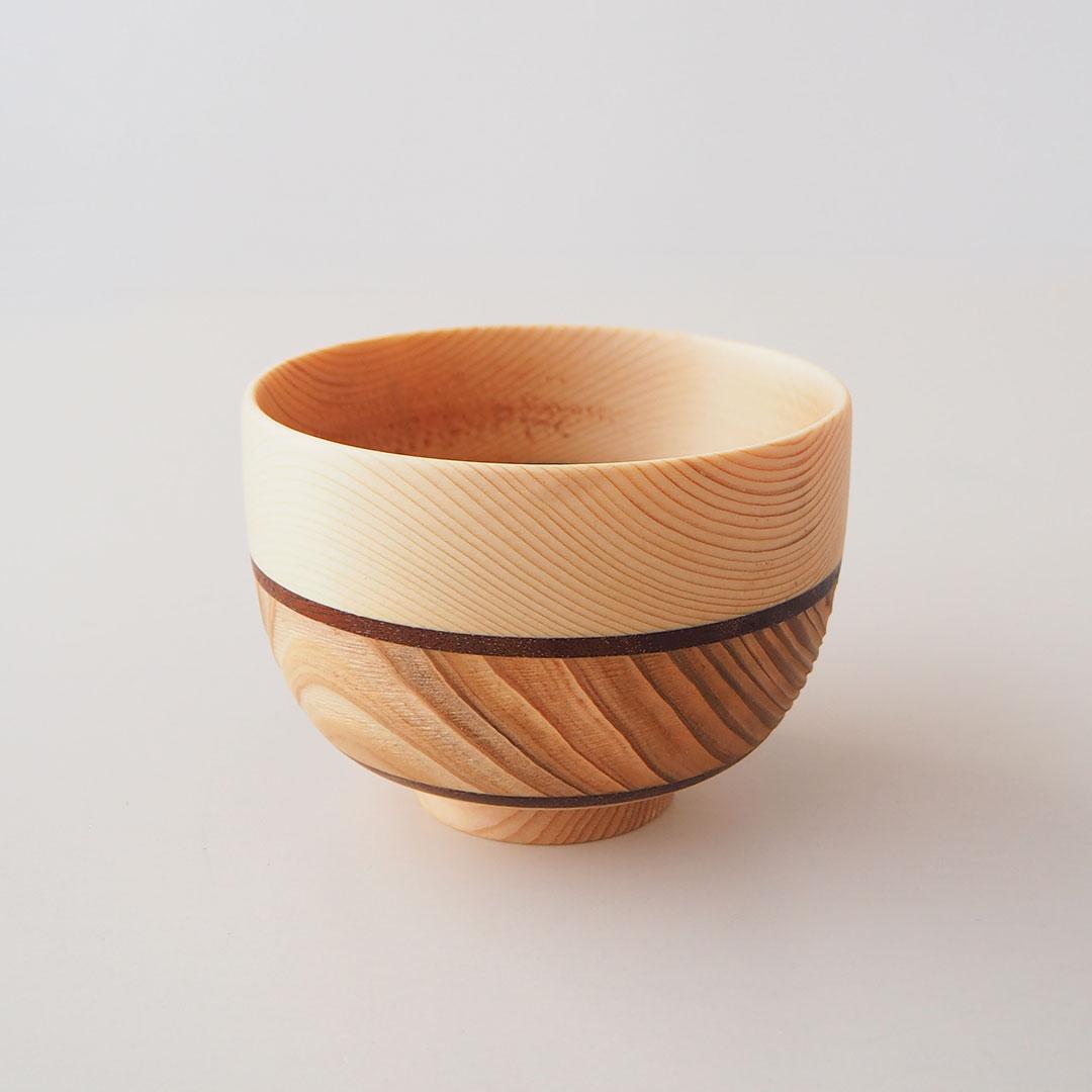 木のしましま椀
