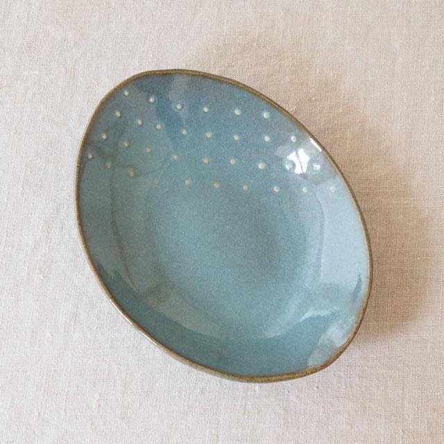 青磁水玉/楕円皿