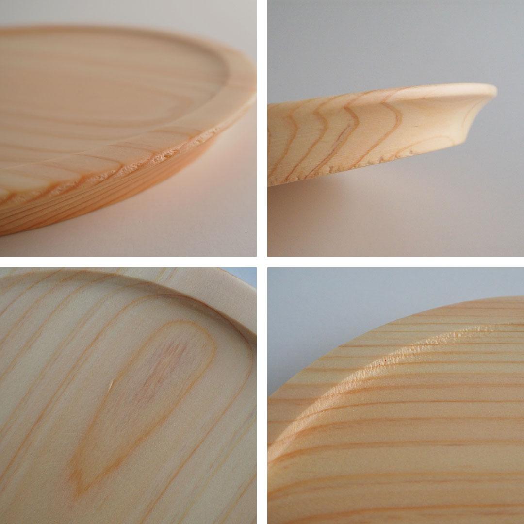 糸島桧のリム皿/ナチュラル/15cm