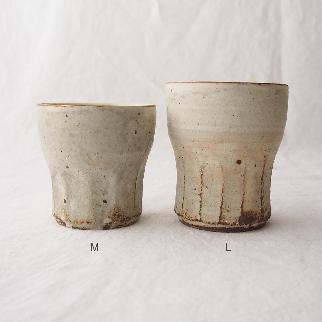 アイボリー釉/面取りフリーカップ/小
