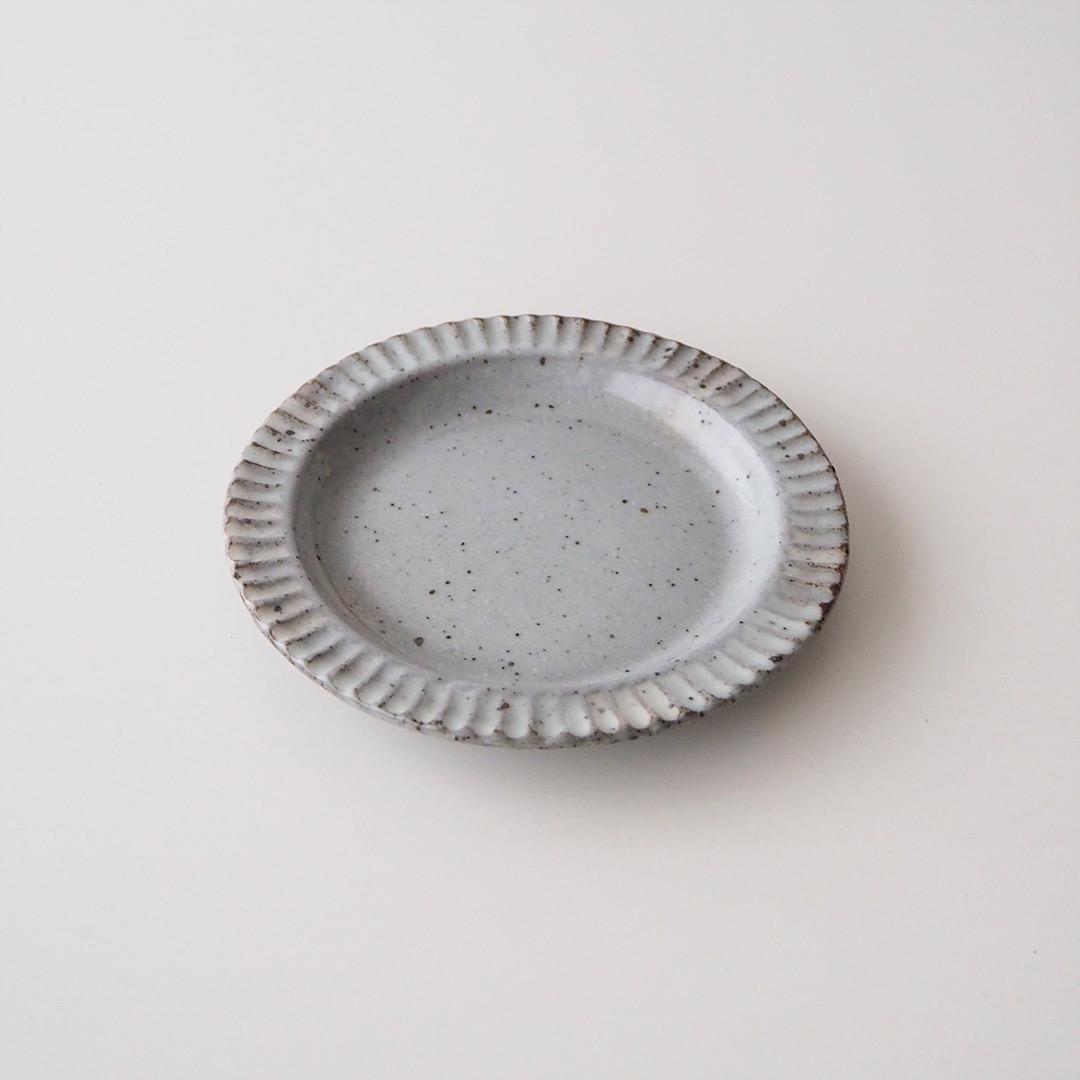 粉引/鎬リム/丸皿/13.5cm