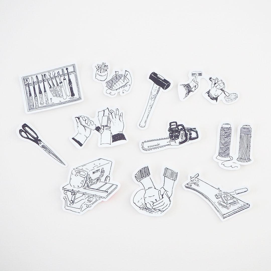 つくり手の道具/ステッカー/革を断つ