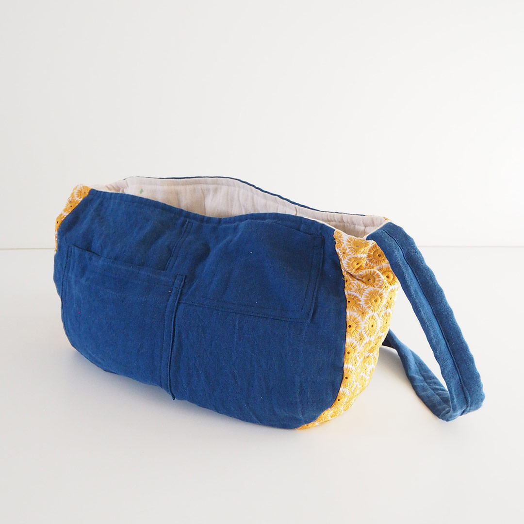 藍染刺繍布バッグ